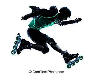 man Roller Skater inline Roller Blading silhouette - one...