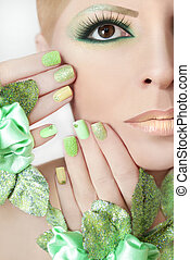 Green makeup and nail Polish - Green makeup and nail Polish...