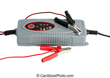 Modern electronic charger for car battery with clamps and...