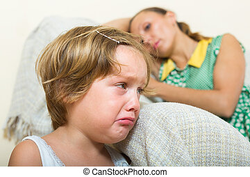 Crying child and mother having quarrel