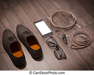 Every day carry man items collection: glasses, leash, shoes...