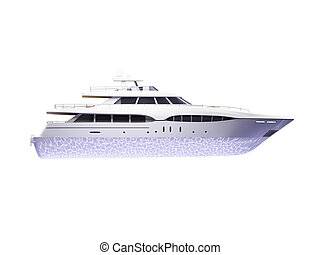Big yacht isolated side view - isolated big yacht on white...