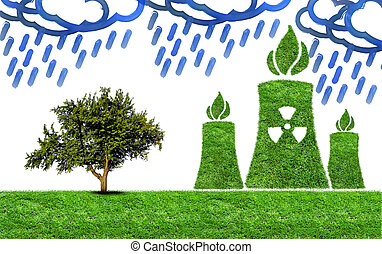 Green grass Nuclear power plant icon - Green nuclear power...