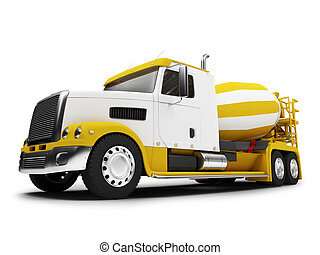 Concrete mixer isolated front view with clipping path -...