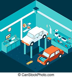 Isometric 3d garage car repair Workshop and auto, lift...