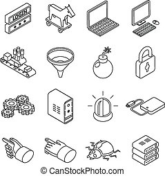 Data protection technology and web business security icons. Isometric 3d thin line style
