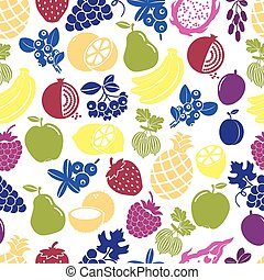 Fruits and berries seamless background