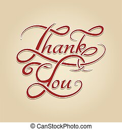 Thank You lettering retro calligraphy. Handwrite english...