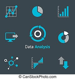 Data analytic icons set. Chart and diagram, infographic and...