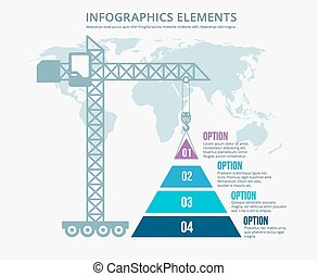 Pyramid chart options construction infographics. Structure...