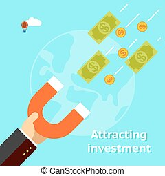 Attracting investments concept Money business success dollar...