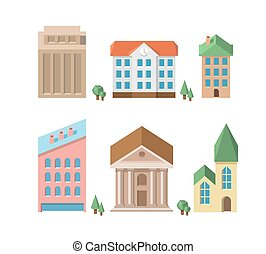 Buildings. Vector 3d houses