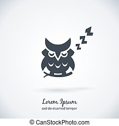 Sleeping owl logo. Dream concept icon