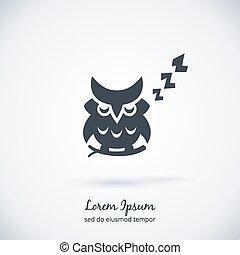 Sleeping owl logo. Dream concept icon. Bird and animal....