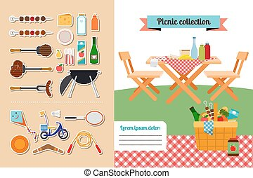 Picnic elements collection - Vector picnic elements...