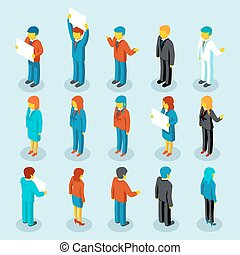 Business people isometric 3d vector figures Set of woman and...