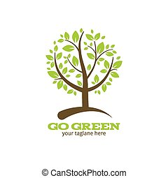 Go green tree logo or symbol. Ecology and nature. Vector...