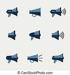 Megaphone vector icons set. Communication and sound, symbol...