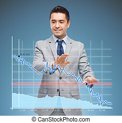 businessman touching virtual screen with chart