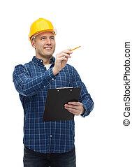 smiling male builder in helmet with clipboard - repair,...