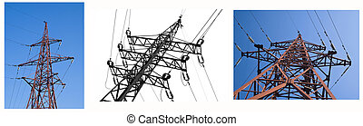 Collage of electric line views over blue sky and white