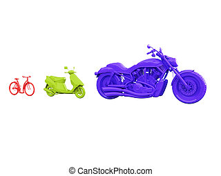 evolution of bicycle - red bicycle and motorized bicycle and...
