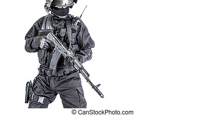 Russian special forces operator in black uniform and...