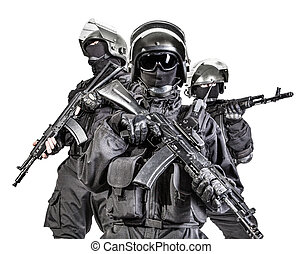 Russian special forces operators in black uniform and...
