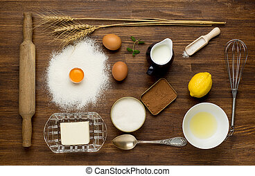 Baking cake in rural kitchen - dough recipe ingredients...