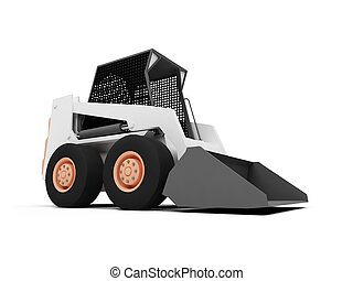 Skid steer loader - isolated skid steer loader on a white...