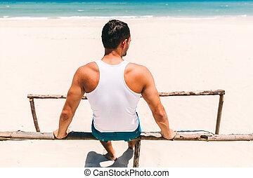 光景, 浜, 背中, 人, フィットネス