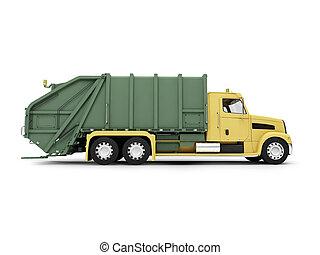 isolated trash dump car on white background