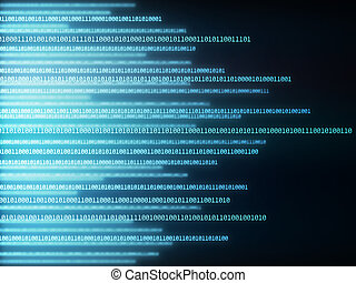 Matrix Code - Background image of binary codes in horizontal...