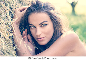 closeup image of beautiful young woman having fun relaxing...