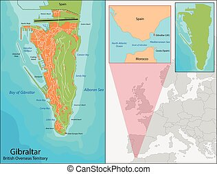 Gibraltar map - Gibraltar is a British Overseas Territory...