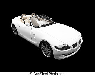 isolated white car front view - isolated white cabriolet on...