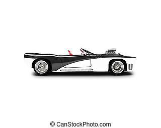 isolated black car side view - black super car on a white...