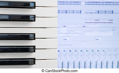Piano keys over recording software background