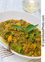 Kabocha Stew - Kabocha stew with curry lentils and kale