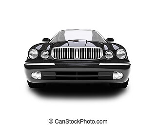 isolated blue car front view - blue car on a white...