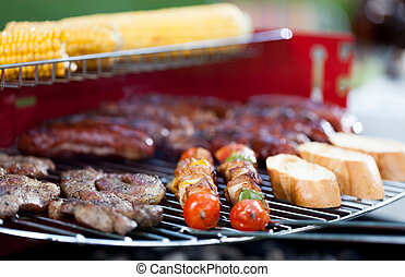 Tasty food on barbecue - Closeup of tasty food on barbecue...