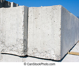 two concrete slabs to build a house outside closeup