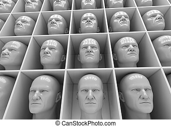 Uniformity - Many of the same people's heads in boxes....