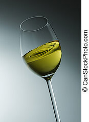 moving white wine glass