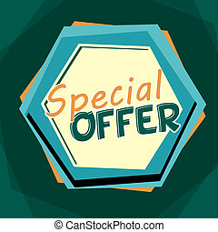 special offer, blue and orange cartoon drawn label - special...
