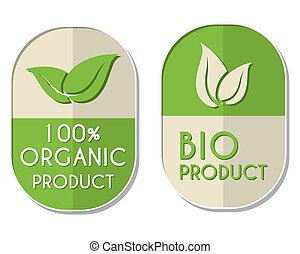 100 percent organic and bio product with leaf sign, two elliptic