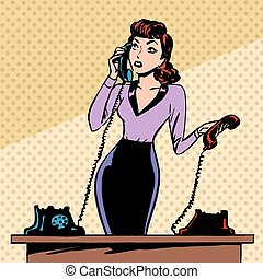 Girl Secretary answers the phone progress and communication...