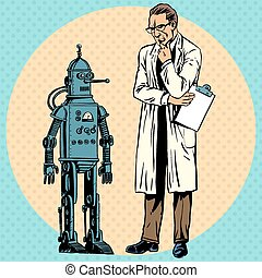 Professor scientist and a robot. The Creator and gadget new science technology pop art comics retro style Halftone