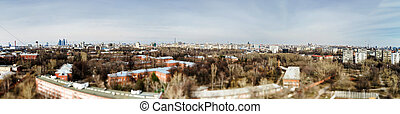 Moscow aerial tilt-shift panorama at spring time - Moscow...