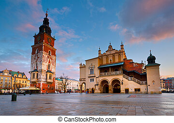 Main square in Krakow. - The Cloth Hall and Town Hall Tower...